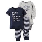 Комплект штанишки, футболка и бодик Carters от 0 до 12 месяцев