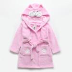 Плюшевый мягкий халат с капюшоном Котенок от 1 до 7 лет